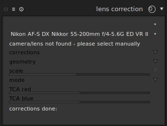 Lens Correction Module: camera/lens not found - darktable